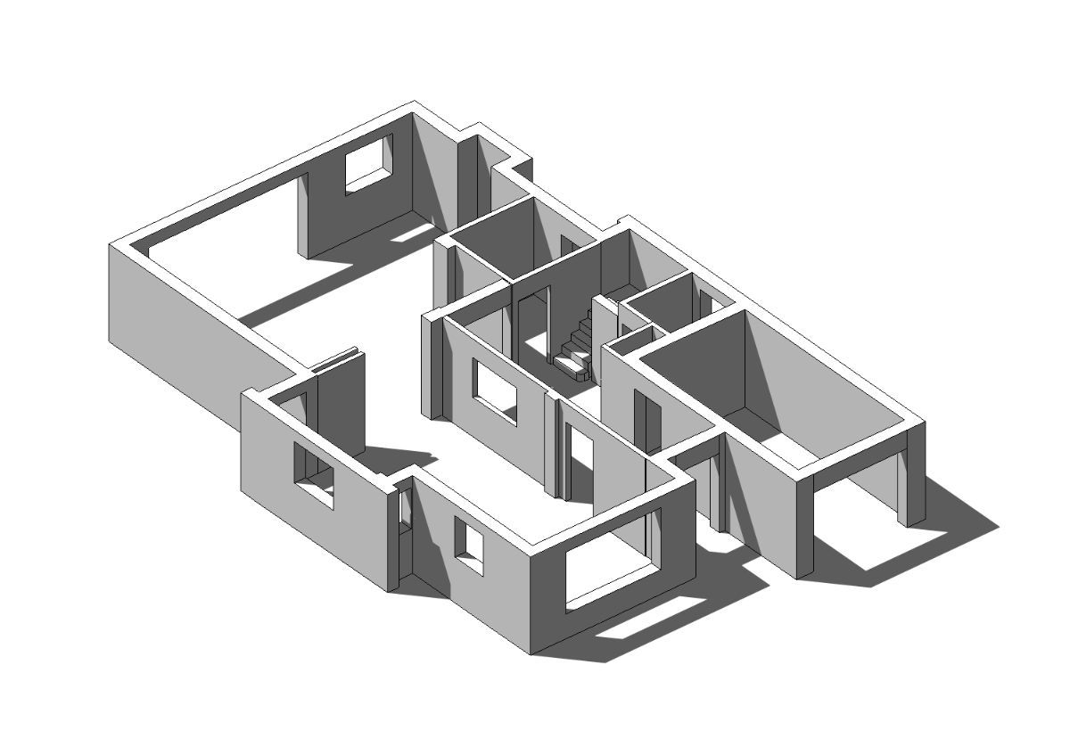 Computer generated isometric view of the ground floor
