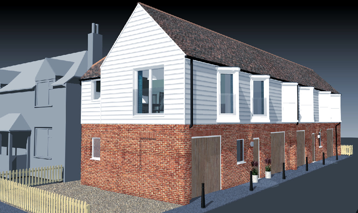 Scheme for garges with apartments over.   Design: Nick Baldry