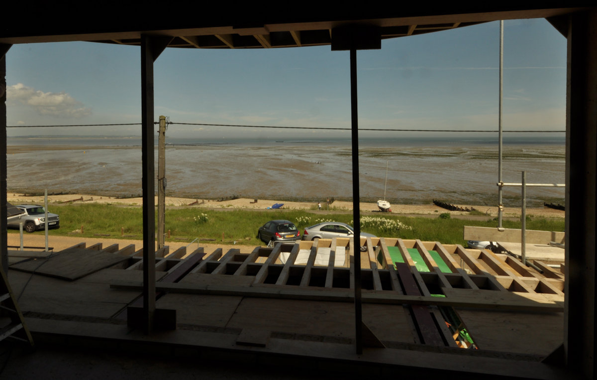 Sea views from the upper floor during construction.    Design: Nick Baldry